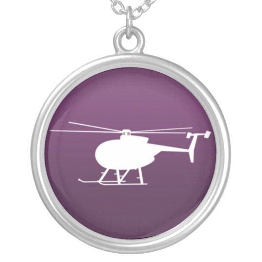 purple helicopter silver plated necklace