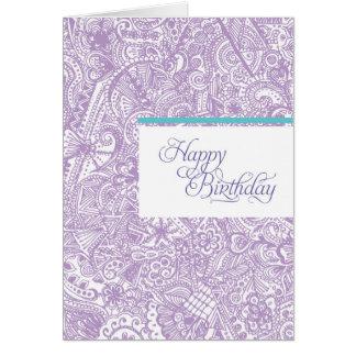 Purple Henna Birthday Card