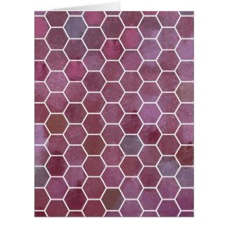 Purple hexagon design big greeting card