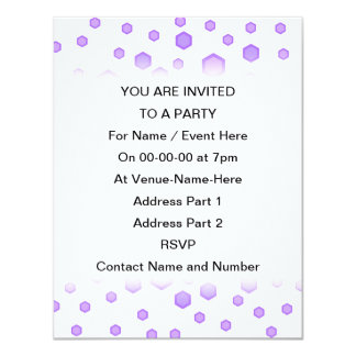 Purple Hexagons. 11 Cm X 14 Cm Invitation Card