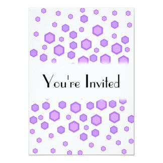 Purple Hexagons. 13 Cm X 18 Cm Invitation Card