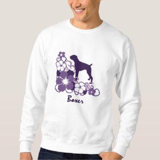 Purple Hibiscus Boxer Embroidered Sweatshirts