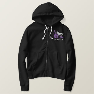 Purple Hibiscus Dachshund Embroidered Hoodie