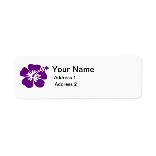 purple hibiscus flower address label