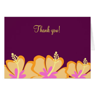 Purple Hibiscus Flower Folded Thank you notes