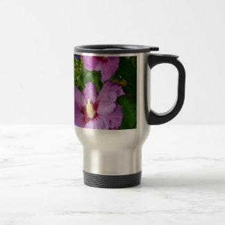 Purple hibiscus flowers coffee mug
