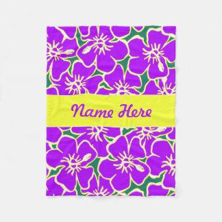 Purple Hibiscus Flowers Tropical Hawaiian Decor Fleece Blanket