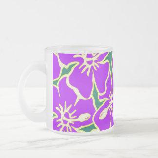 Purple Hibiscus Flowers Tropical Hawaiian Luau Frosted Glass Mug