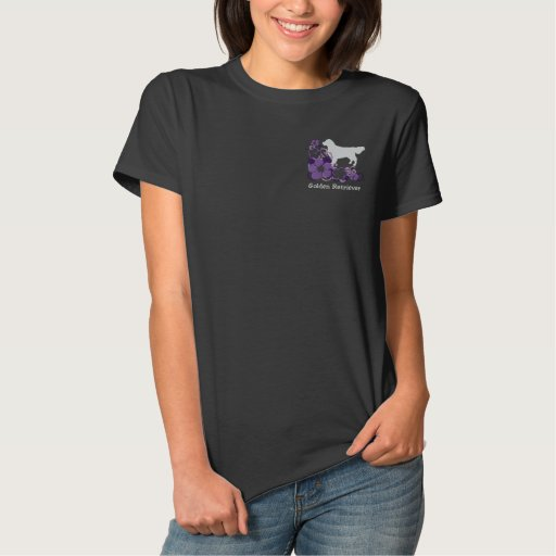 Purple Hibiscus Golden Retriever Polo Shirts