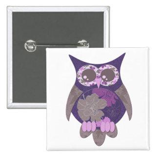 Purple Hibiscus Owl Button
