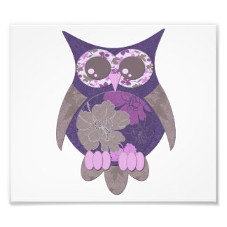 Purple Hibiscus Owl Photo Enlargement