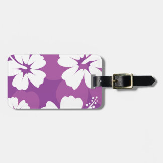 Purple Hibiscus Pattern Luggage Tag