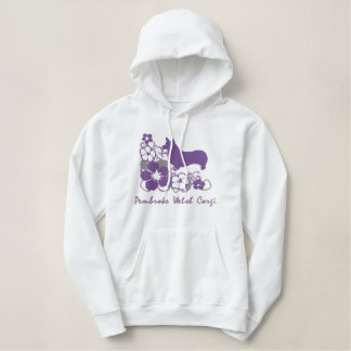 Purple Hibiscus Pembroke Welsh Corgi Embroidered Hooded Sweatshirt