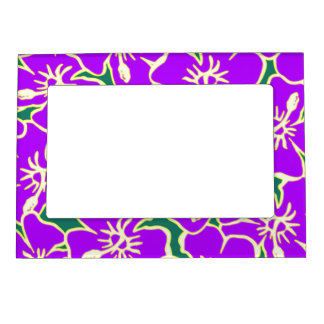 Purple Hibiscus Tropical Flowers Hawaiian Luau Magnetic Picture Frame