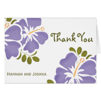 Purple Hibiscus Wedding Thank You Notes Cards