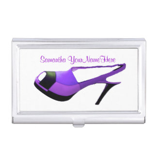 Purple High Heel Shoe Business Card Holder