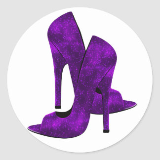 Purple High Heel Shoes Round Stickers