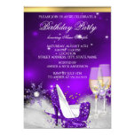 Purple High Heel Shoes Silver Gold Champagne Party 13 Cm X 18 Cm Invitation Card