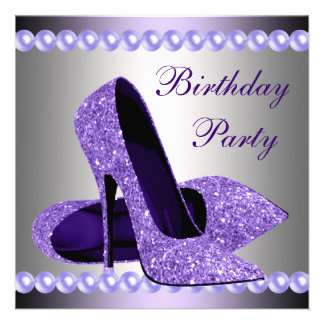 Purple High Heels Shoes Birthday Party Custom Announcement