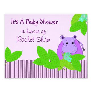 Purple Hippo Baby Shower Card