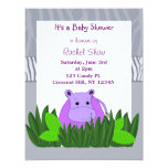 Purple Hippo Baby Shower Invitation