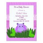 Purple Hippo Baby Shower Invitation 11 Cm X 14 Cm Invitation Card