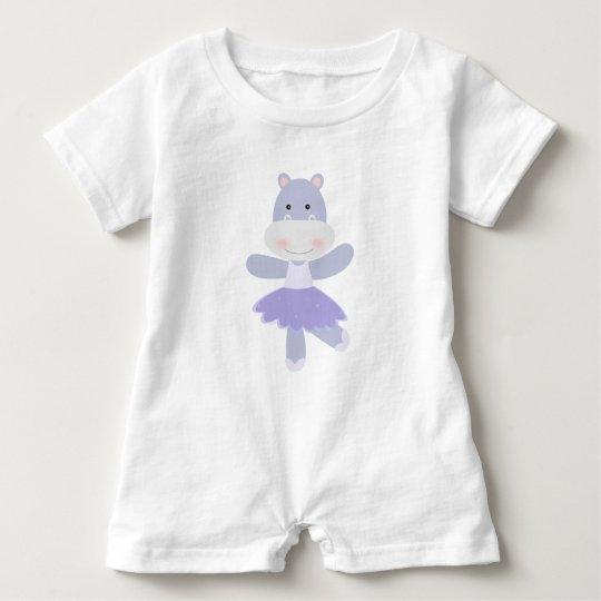 Purple Hippo Ballerina Baby Bodysuit