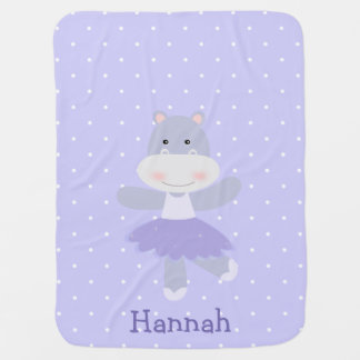 Purple Hippo Ballerina Baby Girl's Blanket Receiving Blankets