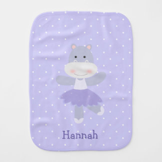 Purple Hippo Ballerina Baby Girl's Burp Cloth