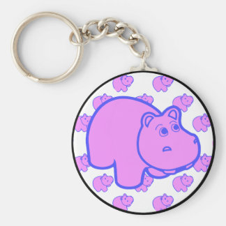Purple Hippo Basic Round Button Key Ring
