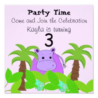 Purple Hippo Birthday Invitation
