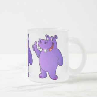 purple hippo cartoon frosted glass coffee mug