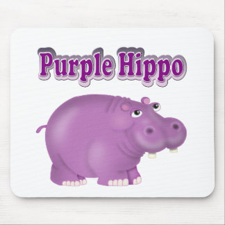 Purple Hippo Mouse Pad