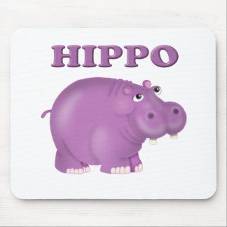 Purple Hippo Mouse Pads