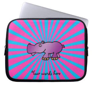 Purple hippo on pink sunburst laptop sleeve
