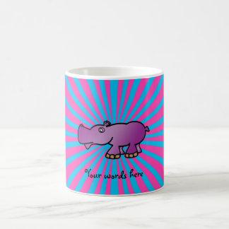 Purple hippo on pink sunburst coffee mugs