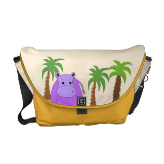 Purple Hippo with Palm Trees Messenger Bag