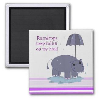 Purple Hippopotamus Square Magnet