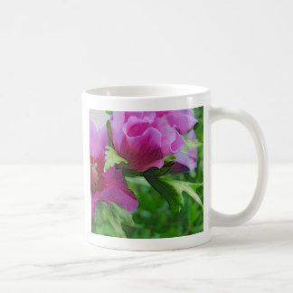 Purple hisbiscus flowers basic white mug