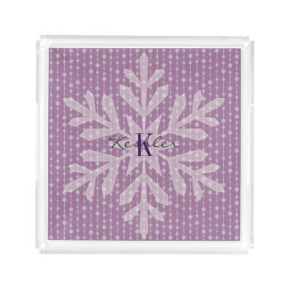Purple Holiday Snowflake Monogram Tray