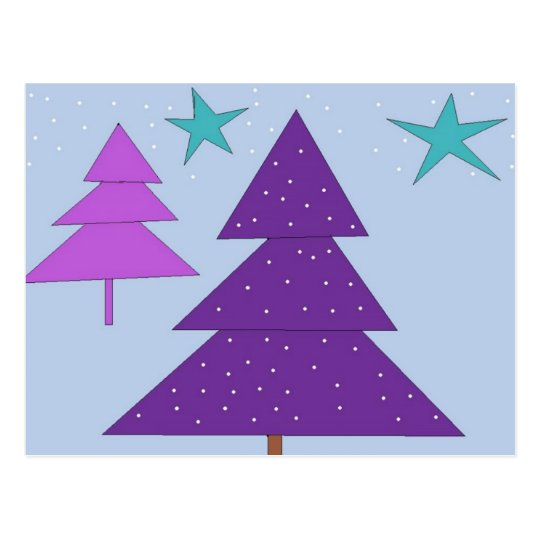 Purple Holiday Trees Postcard