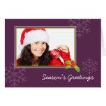 Purple holly multi photo Christmas holiday folded