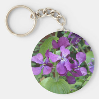 Purple Honesty Flower Basic Round Button Key Ring