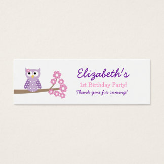 Purple Hoot Owl Birthday Favor Tag Mini Business Card