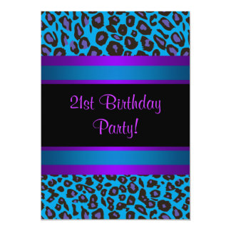 Purple Hot Pink Leopard  Womans 21st Birthday 13 Cm X 18 Cm Invitation Card