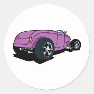 Purple Hot Rod Round Sticker