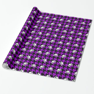 Purple Houndstooth & Skulls Wrapping Paper