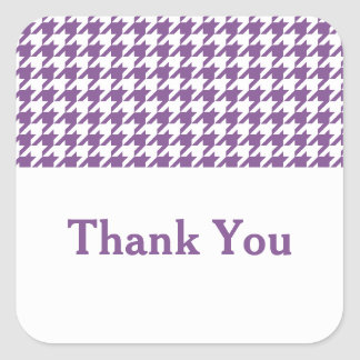 Purple Houndstooth Thank You Stickers