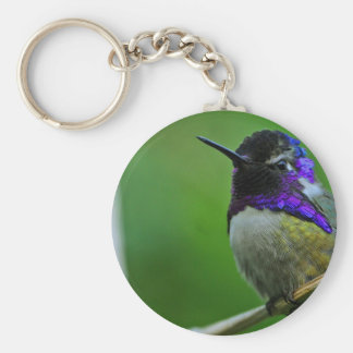 Purple Hummingbird Basic Round Button Key Ring