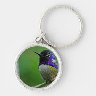 Purple Hummingbird Silver-Colored Round Key Ring